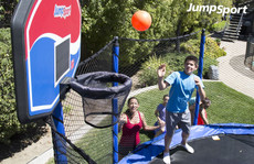 StagedBounce 14' Trampoline, Baskeball Hoop & Ladder Bundle