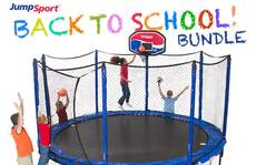 StagedBounce 14' Trampoline, Basketball Hoop & Ladder Bundle