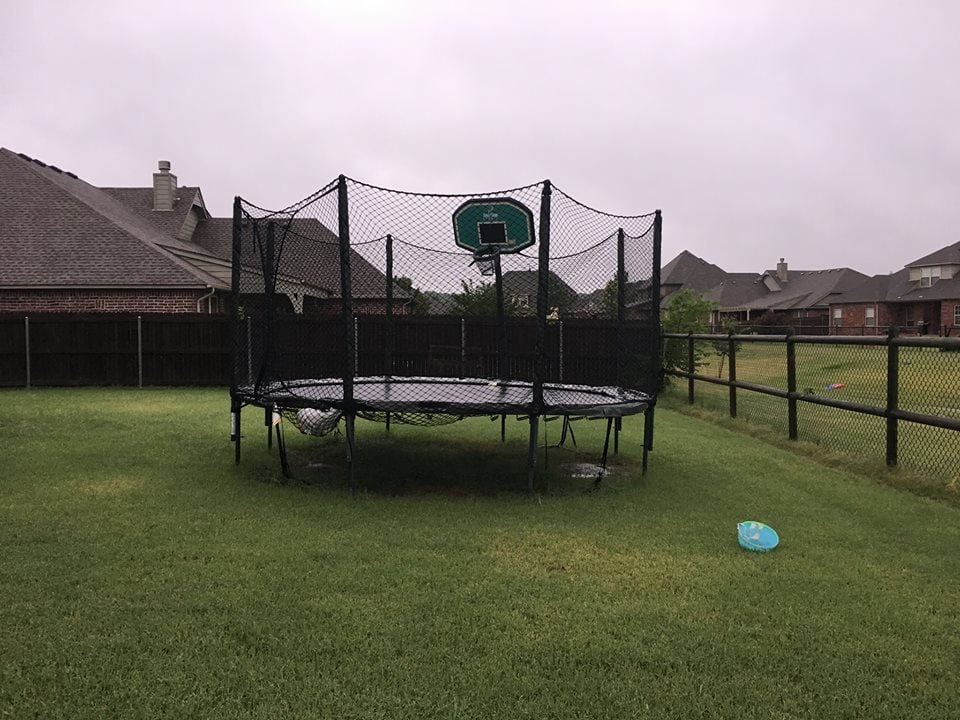 JumpSport trampoline unmoved by F1 tornado due to anchor kit