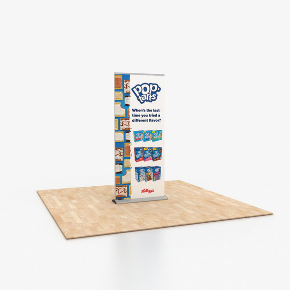 """33.5"""" x 79"""" Double-Sided Vinyl Print Portable Retractable Banner Stand"""