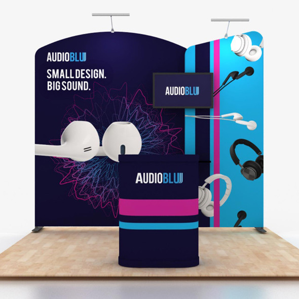 10' x 10' Foot Modular Tension Fabric Portable Trade Show Booth Kit C5A4 with includes Wall, Hard Case Podium with Graphic