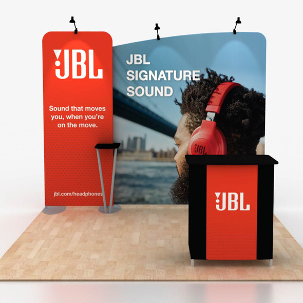 10 x 10 trade show displays with fabric counter