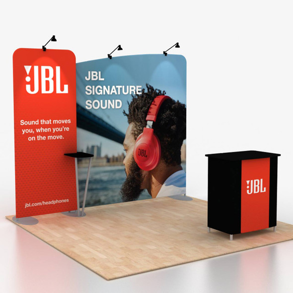10x10 trade show displays with fabric counter