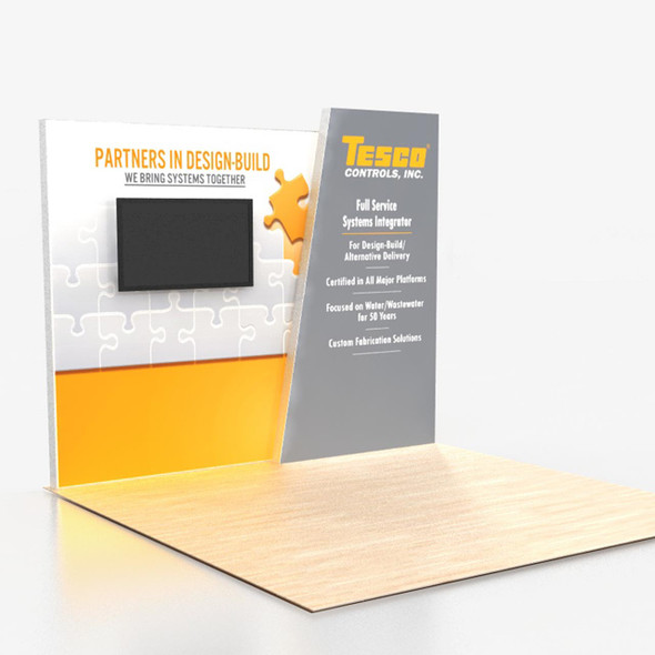 Brilliant 10' x8' Angled Backlit Lightbox Portable Trade Show Displays with Monitor Mount Center