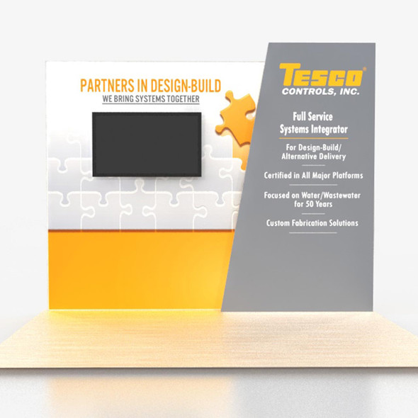 Brilliant 10' x8' Angled Backlit Lightbox Portable Trade Show Displays with Monitor Mount