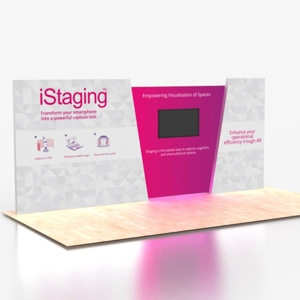 Brilliant 20' x8' Angled Backlit Lightbox Portable Trade Show Displays with Monitor Mount Center
