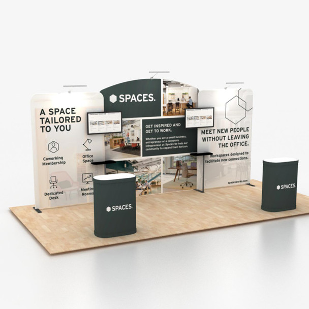 10' x 20' Foot Modular Tension Fabric Portable Trade Show Display Kit B1D5B1 with Wall, Hard Case Podium with Graphic, Monitor Mount with Shelving Unit