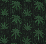 Marijuana Brocade - Green & Black - Decorative Fabric, Leaf Pattern