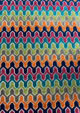 Ruth Chenille Velvet Geometric - Orange/Navy/Teal/Pink
