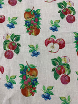 Apple Blueberry Linen Sheer Print - Ivory