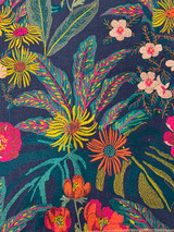 Evan Embroidery Floral - Navy / Pink / Gold