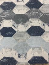 Doppelt Geometric Chenille - Navy/White/Charcoal