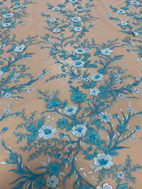 Floral Embroidery Baby Blue / Aqua