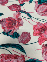 Tulip Damask Brocade - Pink / White / Green