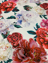 Giant Floral Print - Red / White / Green