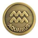 Antique Gold Aquarius Zodiac Pin