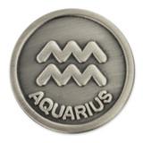 Antique Silver Aquarius Zodiac Pin