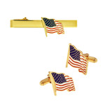 American Flag Tie Clip and Cufflinks Set