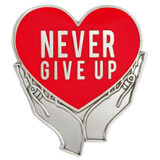 Never Give Up Pin - Red