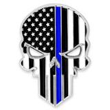 Thin Blue Line Skull Pin