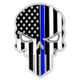 Thin Blue Line Skull Pin
