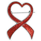 Red Glitter Heart Ribbon Brooch