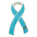 Light Blue Ribbon with Stone Pin