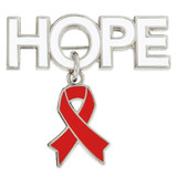 Hope Pin with Red Ribbon Charm