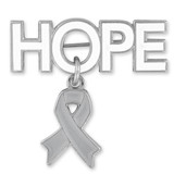 Hope Pin with Grey Ribbon Charm