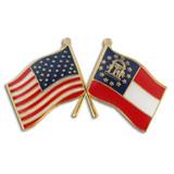 Georgia and USA Crossed Flag Pin