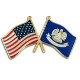 Louisiana and USA Crossed Flag Pin