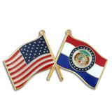 Missouri and USA Crossed Flag Pin