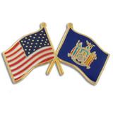 New York and USA Crossed Flag Pin