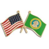 Washington and USA Crossed Flag Pin