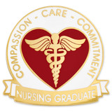 Nursing Graduate Pin - Compassion, Care, Commitment