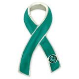 Teal Awareness Ribbon with Stone Pin
