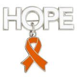 Hope Pin with Orange Ribbon Charm