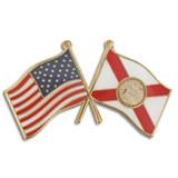 Florida and USA Crossed Flag Pin