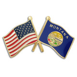 Montana and USA Crossed Flag Pin