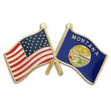 Montana and USA Crossed Flag Pin