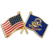 North Dakota and USA Crossed Flag Pin