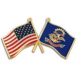 North Dakota and USA Crossed Flag Pin