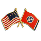 Tennessee and USA Crossed Flag Pin