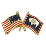 Wyoming and USA Crossed Flag Pin