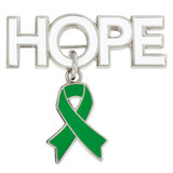 Hope Pin with Green Ribbon Charm