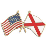 Alabama and USA Crossed Flag Pin