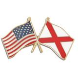 Alabama and USA Crossed Flag Pin