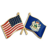 Maine and USA Crossed Flag Pin