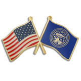 Nebraska and USA Crossed Flag Pin