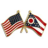 Ohio and USA Crossed Flag Pin